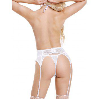Low Cut Halter Sheer Top with T Back - WHITE M