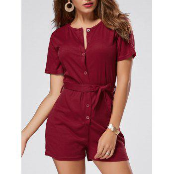 Button Down Belt Knit Romper - WINE RED WINE RED