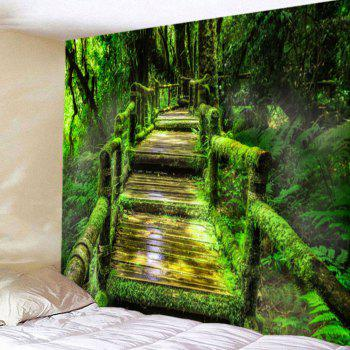 Forest Mosses Wood Pathway Wall Hanging Tapestry - GREEN W79 INCH * L59 INCH