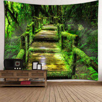 Forest Mosses Wood Pathway Wall Hanging Tapestry - GREEN W59 INCH * L51 INCH