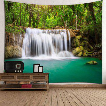 Wall Art Forest Waterfall Hanging Tapestry - GREEN W59 INCH * L59 INCH