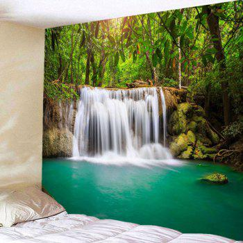 Wall Art Forest Waterfall Hanging Tapestry - GREEN W59 INCH * L51 INCH