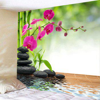 Bamboo Flowers Stones Pond Wall Tapestry - GREEN W71 INCH * L71 INCH