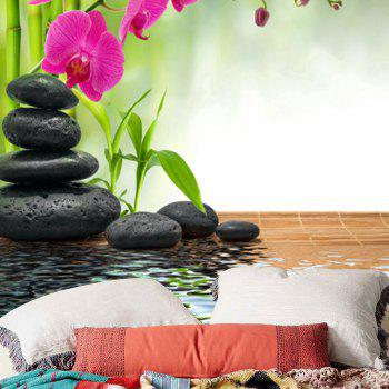 Bamboo Flowers Stones Pond Wall Tapestry - GREEN W79 INCH * L59 INCH