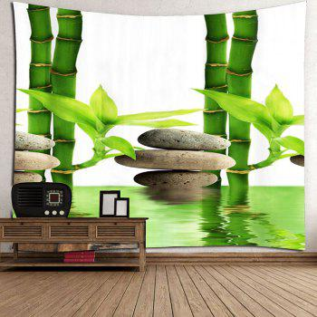 Wall Hanging Bamboo Forest Pool Printed Tapestry - GREEN W71 INCH * L71 INCH