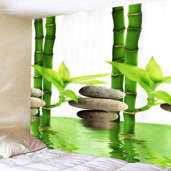 Wall Hanging Bamboo Forest Pool Printed Tapestry - GREEN W59 INCH * L51 INCH
