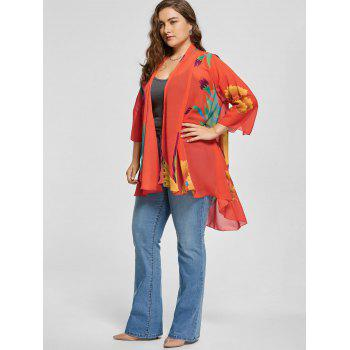Butterfly Print Plus Size Kimono Cover Up - multicolor XL