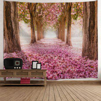 Sakura Scenery Throw Fabric Wall Hanging Tapestry - PINK W71 INCH * L91 INCH