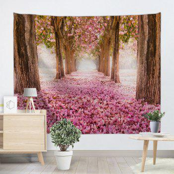 Sakura Scenery Throw Fabric Wall Hanging Tapestry - PINK W51 INCH * L59 INCH