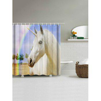 Bathroom Decor Rainbow Unicorn Shower Curtain - COLORMIX W71 INCH * L79 INCH