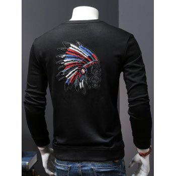 Back Sequinned Chief Skull Embroidered Pullover Sweatshirt - BLACK L