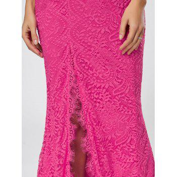 Slit Lace Maxi Slip Dress - ROSE RED XL