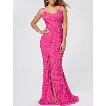 Slit Lace Maxi Slip Dress - ROSE RED ROSE RED