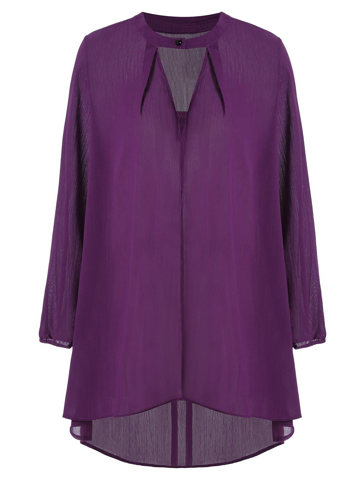 Keyhole Neck Long Sleeve Plus Size High Low Blouse - PURPLISH RED 4XL