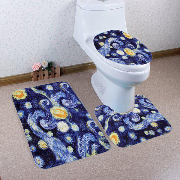 Galaxy Painting Pattern 3 Pcs Bathroom Toilet Mat - BLUE
