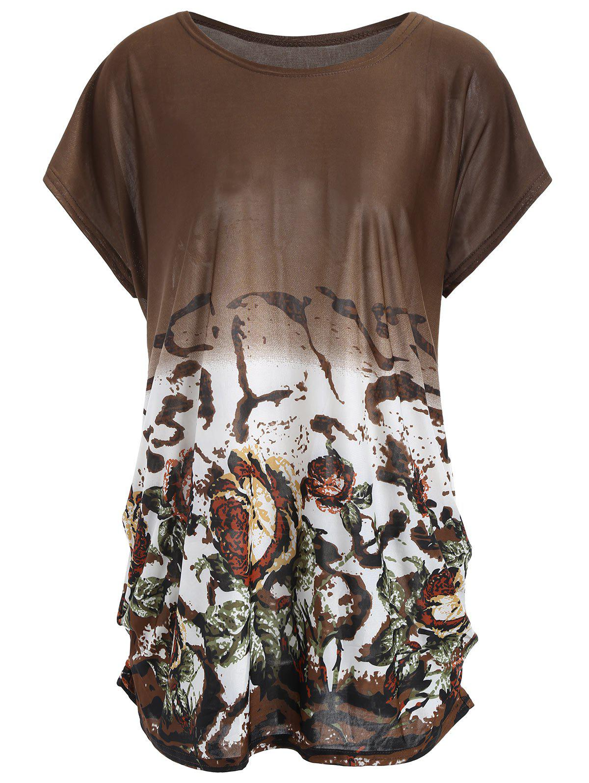 Plus Size Printed Causal Long T-shirt - DARK CAMEL ONE SIZE