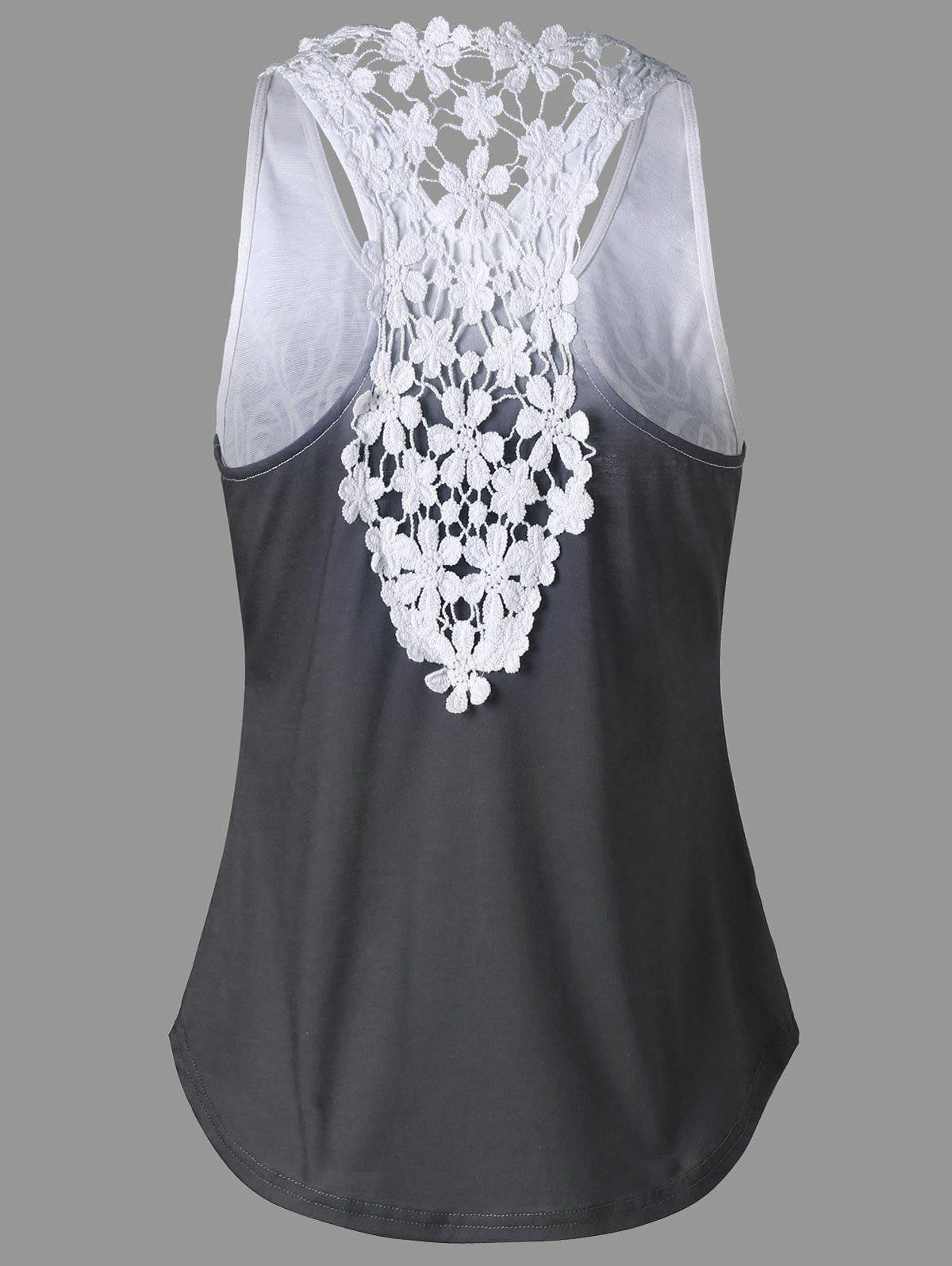 Printed Lace Insert Ombre Tank Top - MOUSE GREY XL