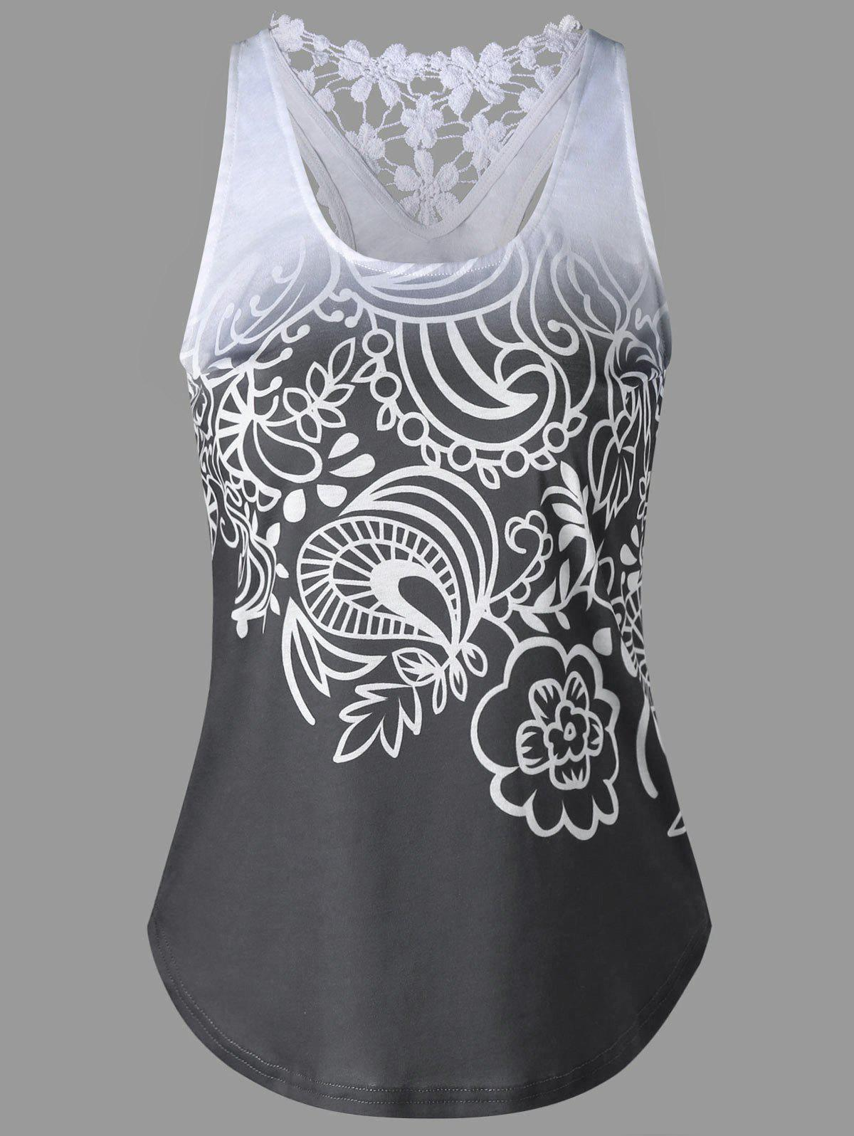 Printed Lace Insert Ombre Tank Top - MOUSE GREY M
