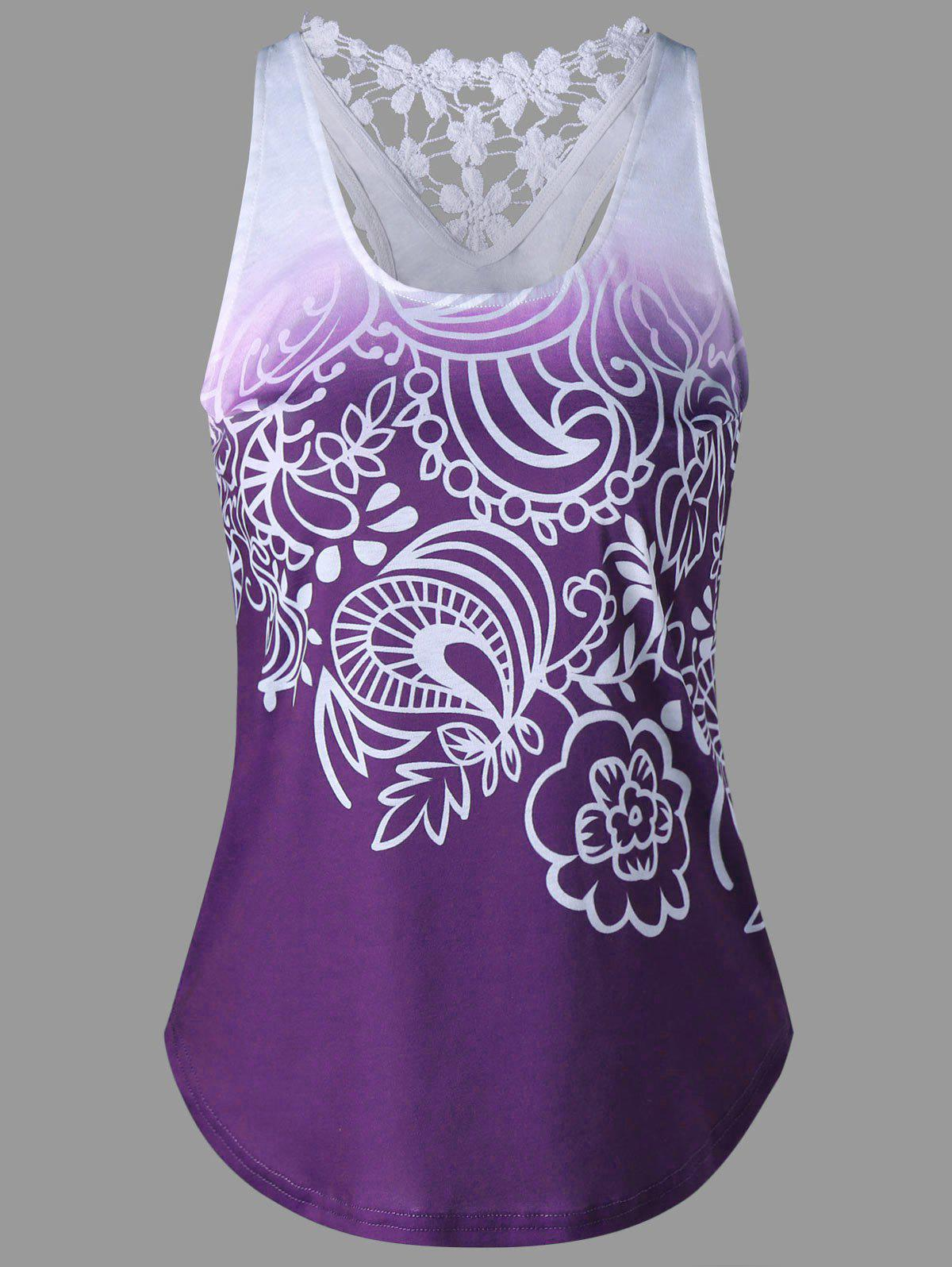 Printed Lace Insert Ombre Tank Top - PURPLE 2XL