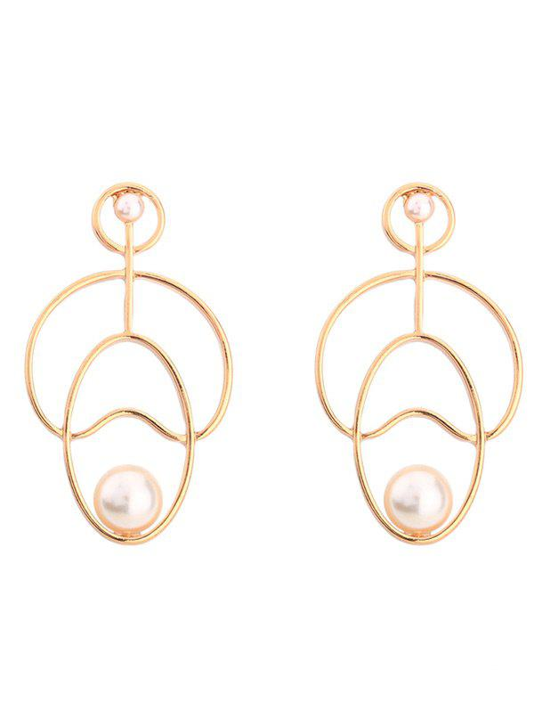 Faux Pearl Hollow Out Stud Earrings - Or
