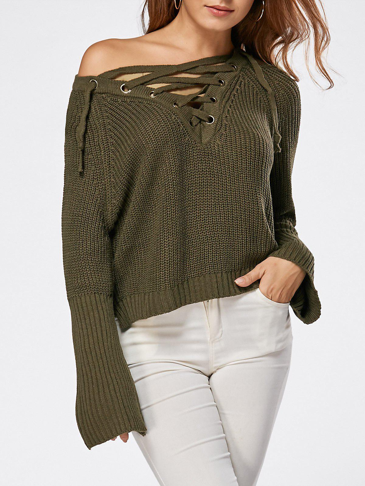 Lace Up Raglan Sleeve High Low Sweater - LAWN ONE SIZE