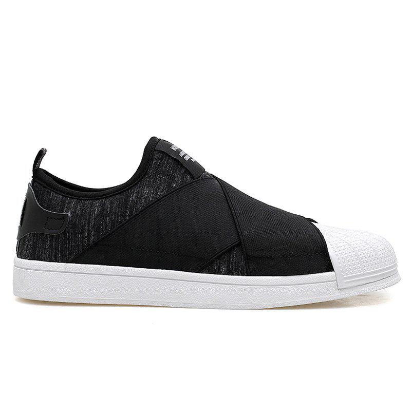 Stretch Fabric Elastic Band Casual Shoes - BLACK 42