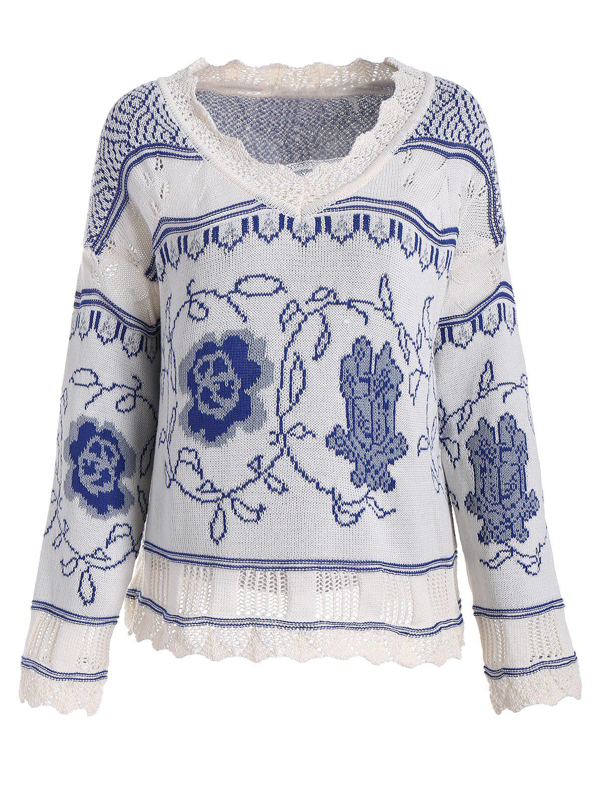 V Neck Plus Size Knit Graphic Sweater ny collection new blue women s size large l wide knit v neck sweater $60 083