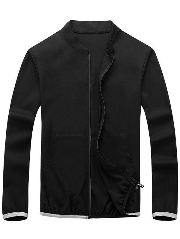 Elastic Cuff Zipper Up Lightweight Jacket - BLACK 3XL