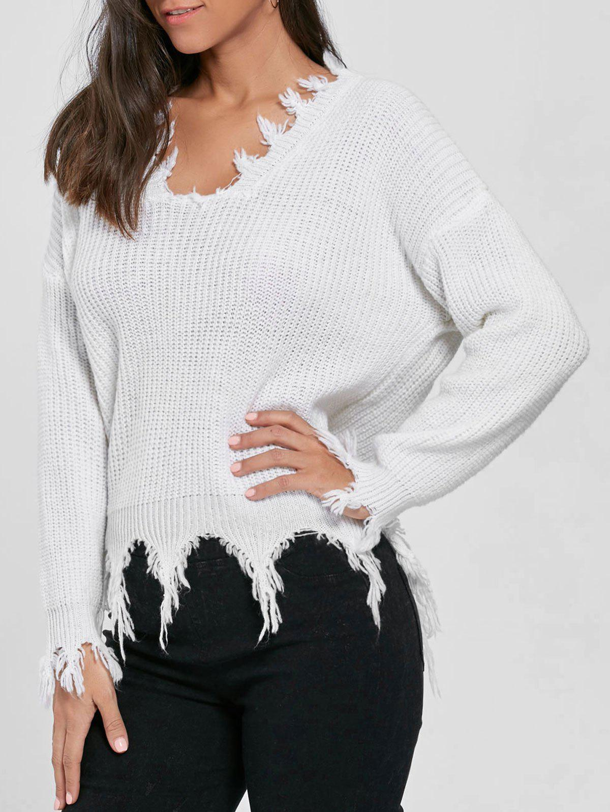 V Neck Knit Distressed Sweater - WHITE ONE SIZE