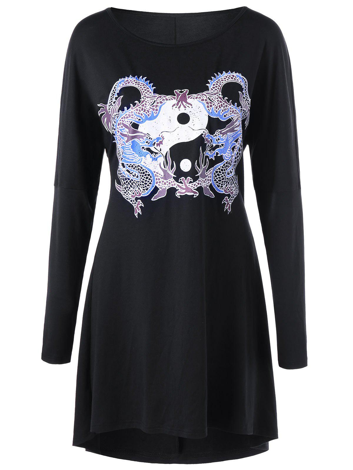 Dragon Print Lace Up Long Sleeve Dress - BLACK M