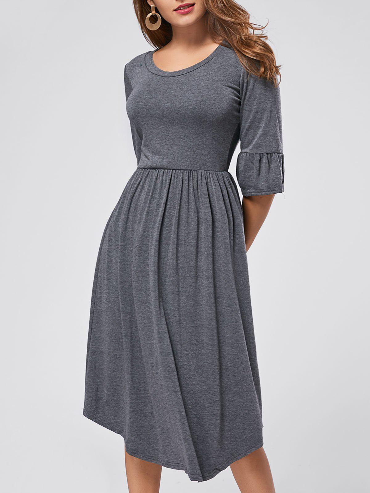 Ruffle Sleeve Midi Jersey Dress - GRAY S