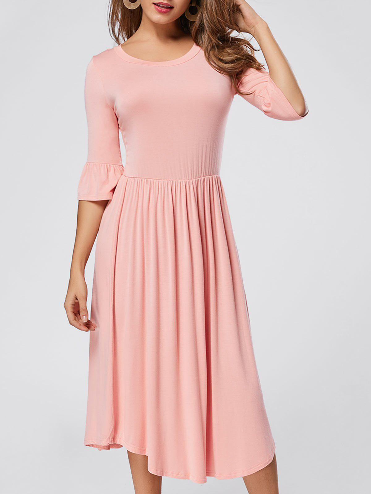 Ruffle Sleeve Midi Jersey Dress - PINK XL
