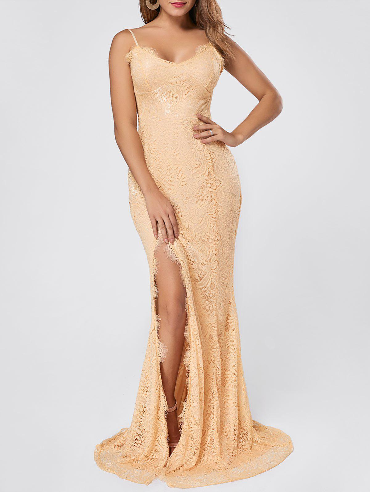 Slit Lace Maxi Slip Dress - APRICOT M