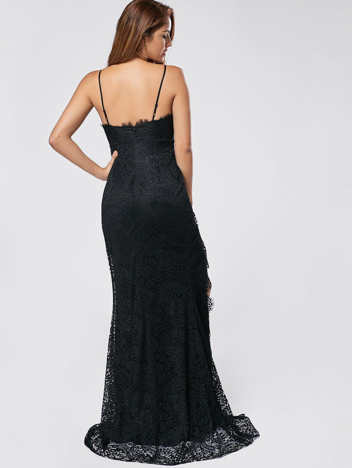 Slit Lace Maxi Slip Dress - BLACK S