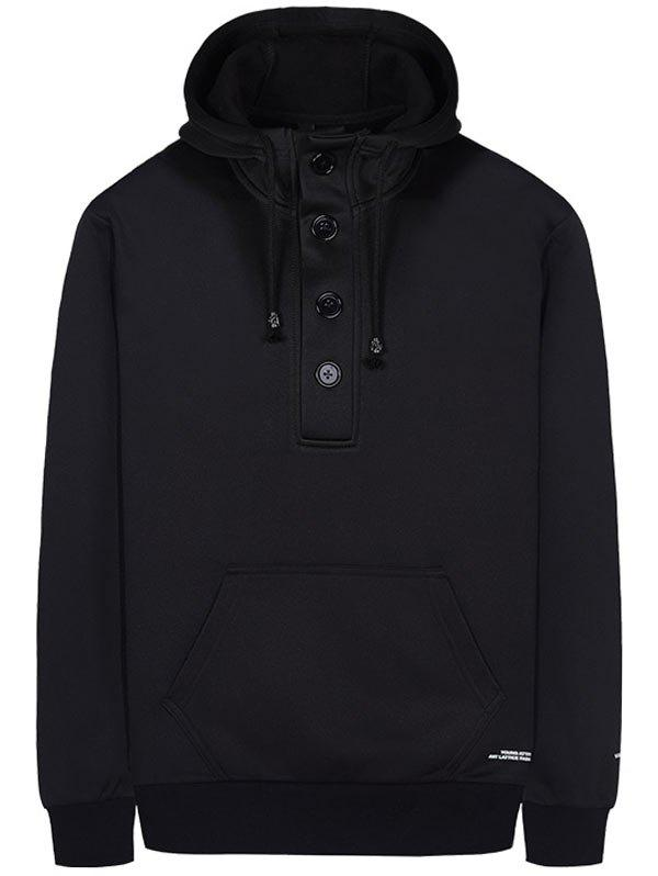 Kangaroo Pocket Half Button Pullover Hoodie - BLACK L