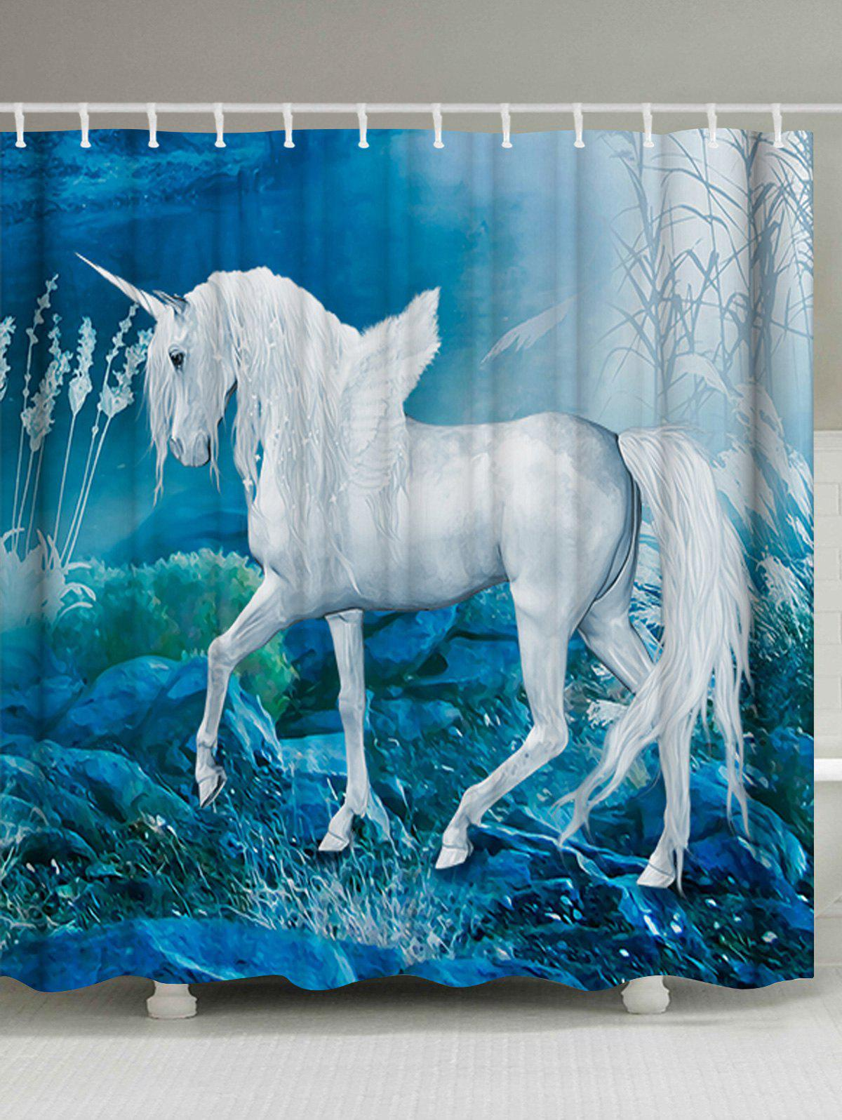 Dreamlike Unicorn Printed Shower Curtain with Hooks - LAKE BLUE W71 INCH * L79 INCH
