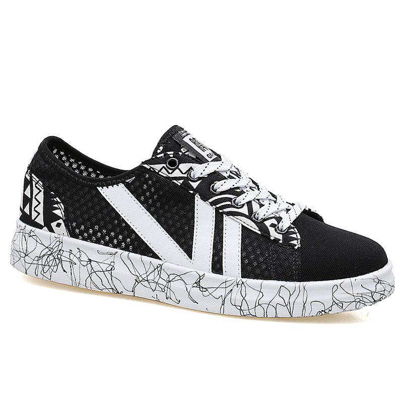 Graffitti Breathable Mesh Sneakers - BLACK 41