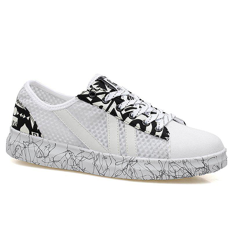Graffitti Breathable Mesh Sneakers - WHITE 40
