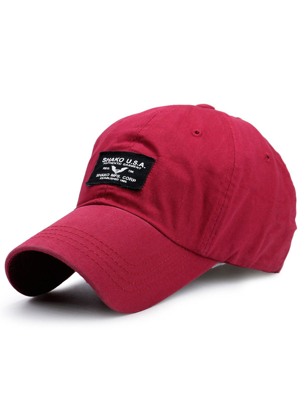 Lettres en plein air Patchwork Baseball Cap - Rouge Clair