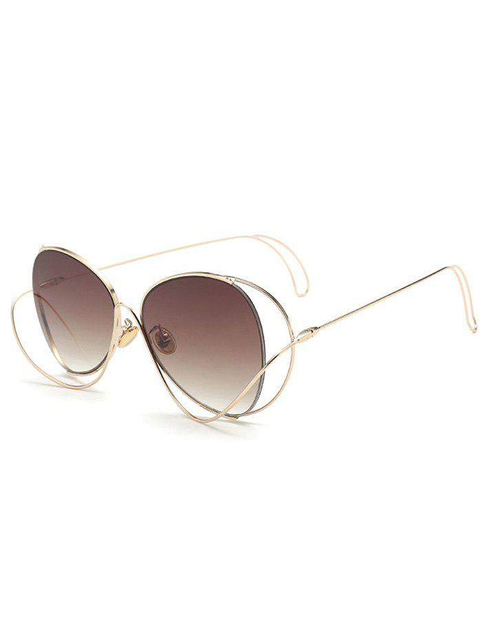 Metal Curve Surround Ombre Sunglasses - TEA COLORED