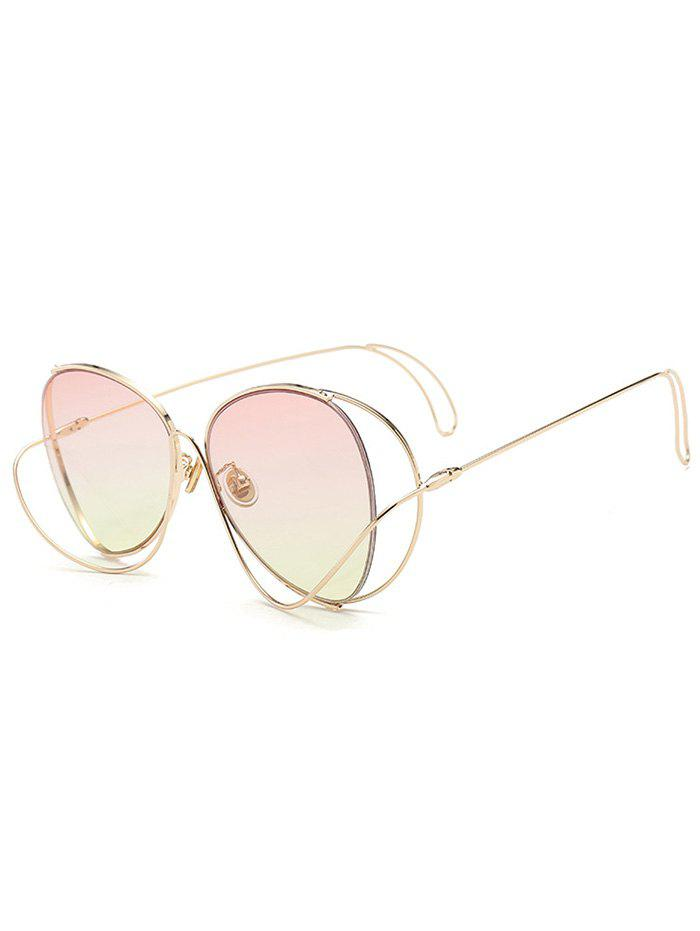Metal Curve Surround Ombre Sunglasses - LIGHT PINK