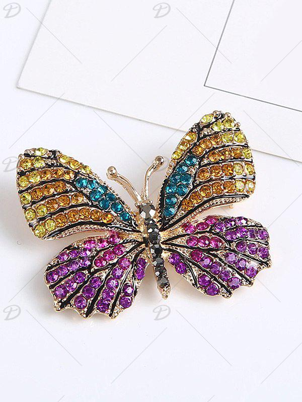 Rhinestone Sparkly Butterfly Brooch - PURPLE