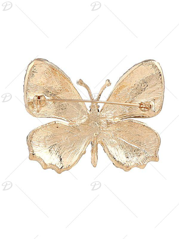 Rhinestone Sparkly Butterfly Brooch - YELLOW