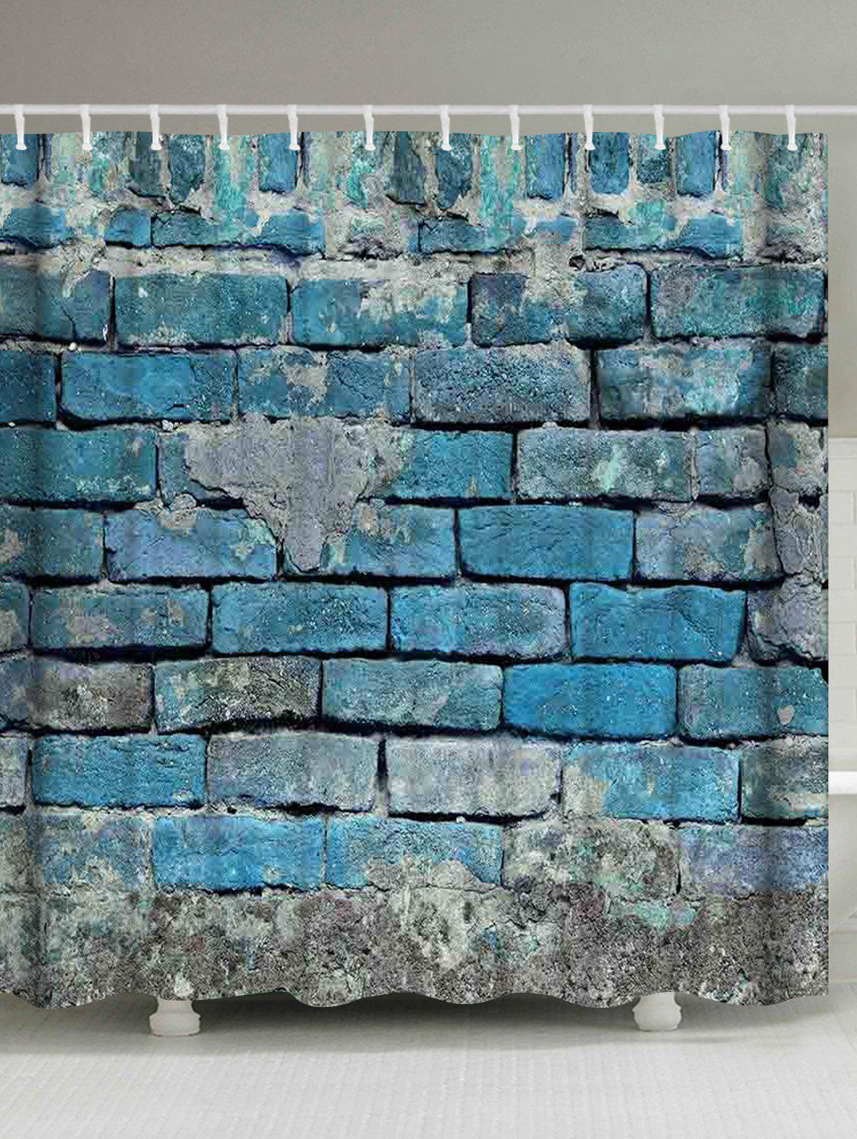 Vintage Brick Wall Shower Curtain Bathroom Decor - LIGHT BLUE W71 INCH * L79 INCH