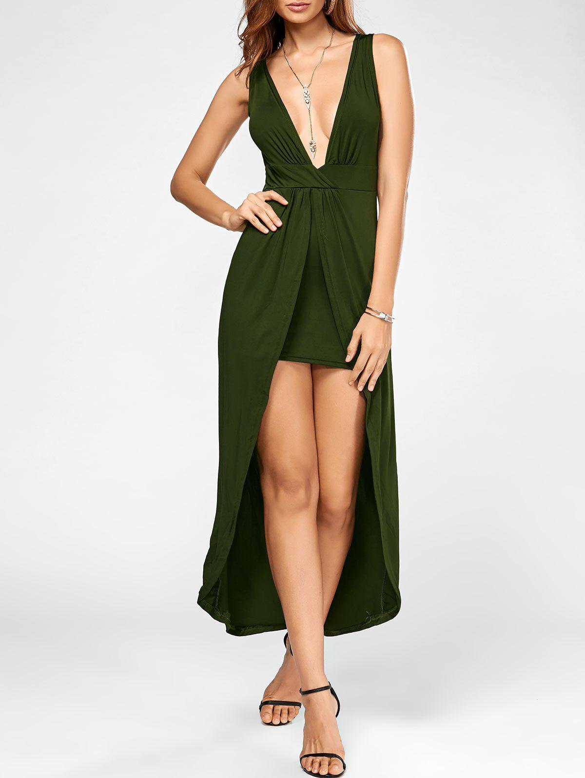 Plunging Neck High Low Maxi Party Dress - ARMY GREEN M