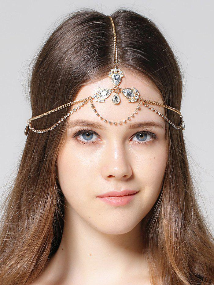 Forehead Rhinestone Faux Gem Head Chain - GOLDEN