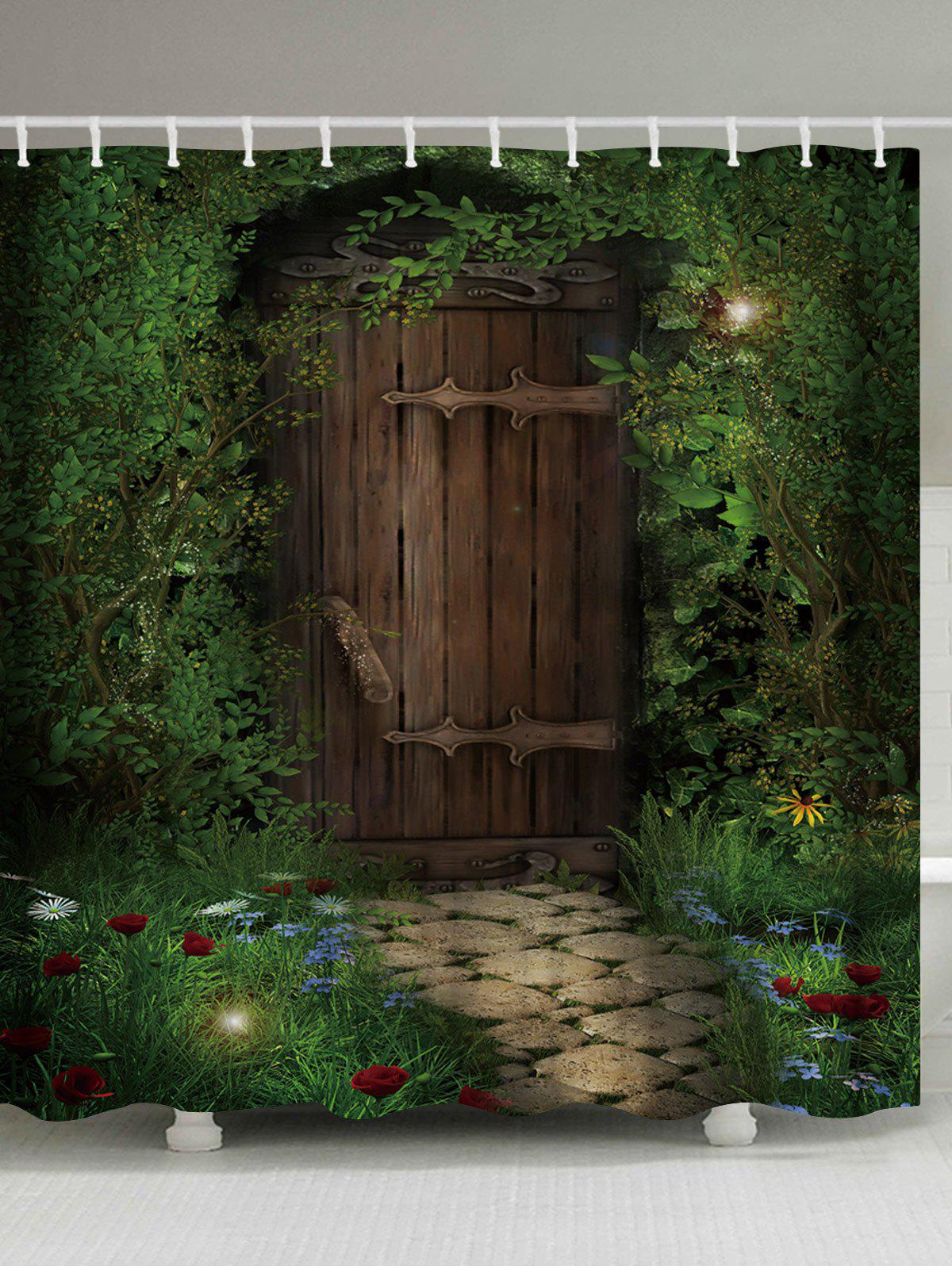 Fairy Forest Wood Door Fabric Shower Curtain
