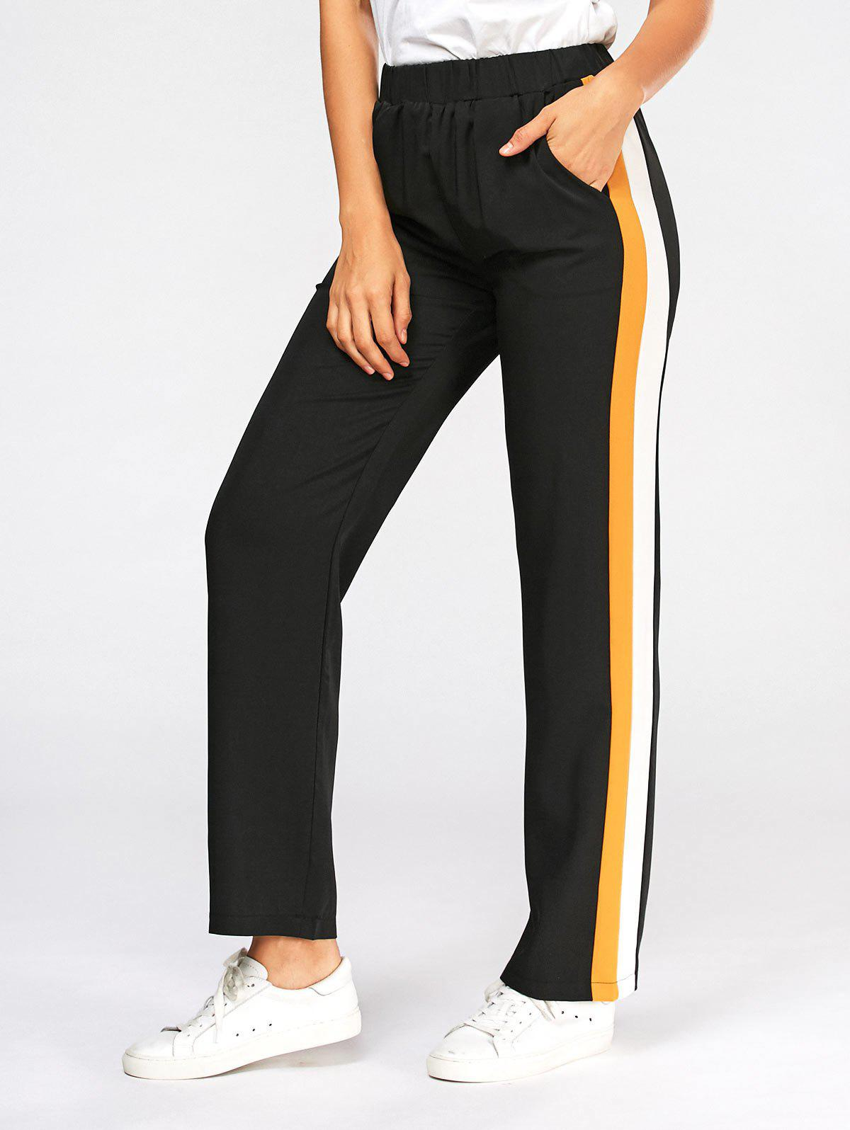 Casual Three Tones Elastic High Wasit Pants - BLACK XL