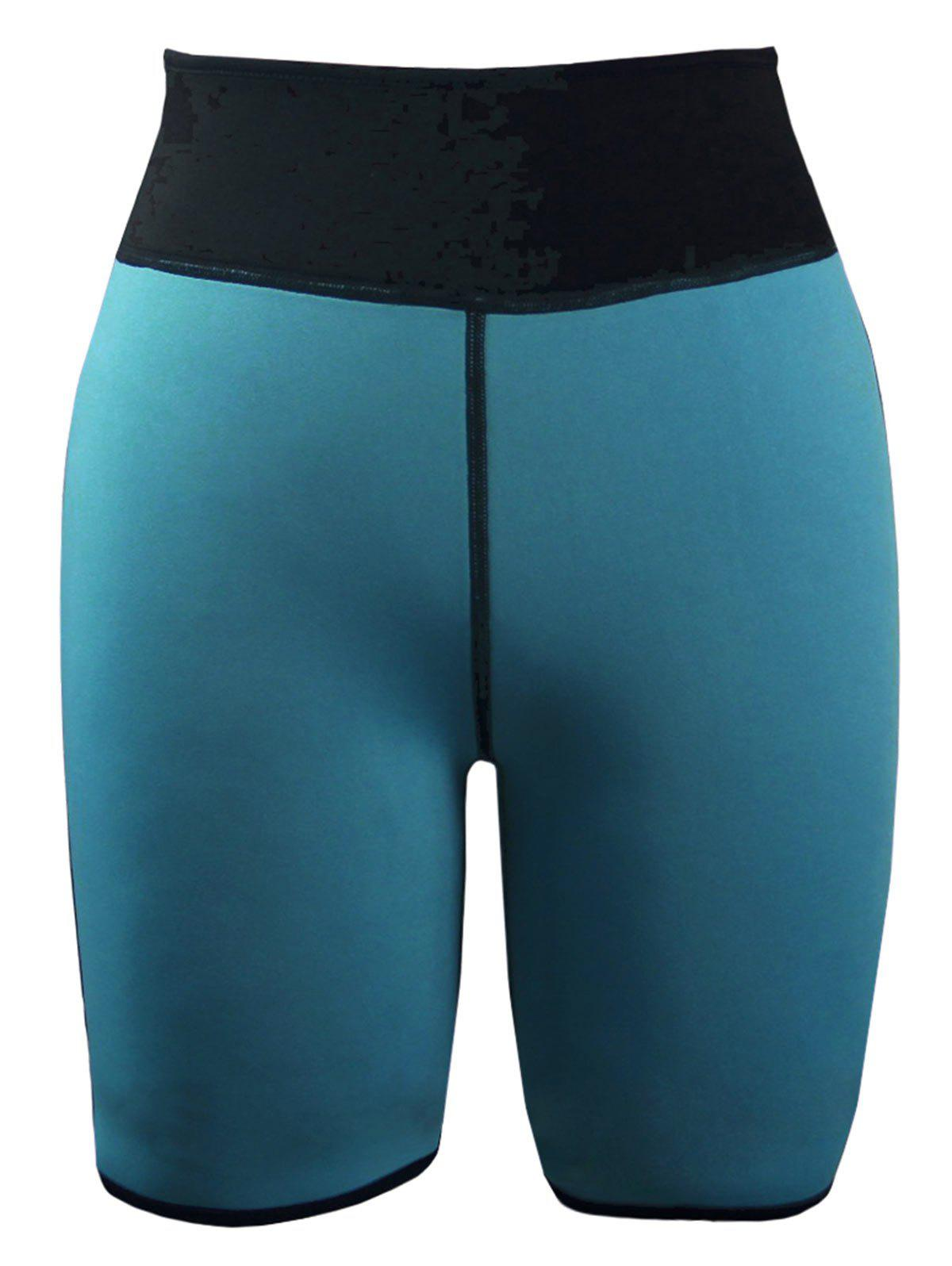 Color Block High Waist Neoprene Sport Shorts - MALACHITE GREEN XL