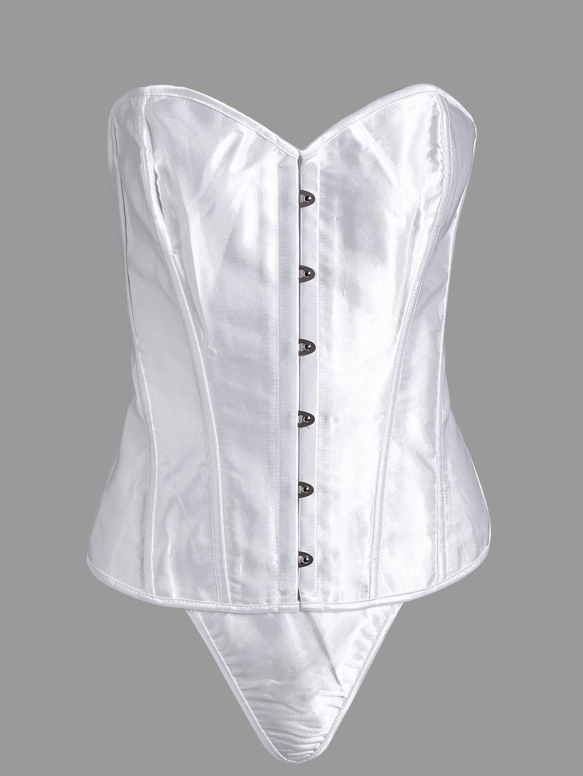 Steel Boned Lace Up Plus Size Corset - WHITE 4XL
